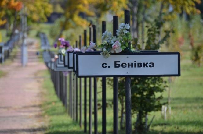 Gedenkstätte für die evakuierten Orte. Jedes Schild steht für einen Ort.